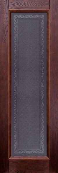 Дверь Ока Аристократ №5 стекло каленое с узором Махагон, массив дуба
