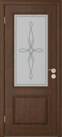 Дверь Юркас Шервуд -2 остекленная Каштан