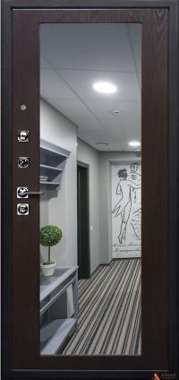 Дверь железная Арма Оптима New с панелью Большое зеркало Венге тангенс