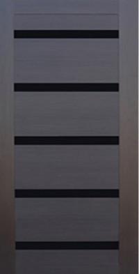 Дверь стальная Арма Стандарт-2 New Крит с панелью СБ-14 ЭкоВенге, стекло лакобель чёрный