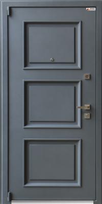 Дверь железная Арма Оптима New с панелью СБ-14 Сандал светлый, стекло лакобель белый