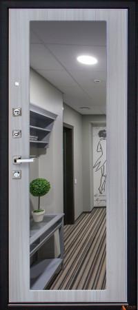 Дверь стальная Арма Стандарт-2 New Крит с панелью Большое зеркало Сандал светлый