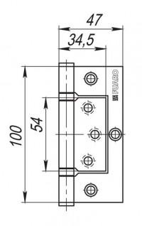 Петля дверная безврезная Fuaro 300-2BB 100x2,5 AC, медь