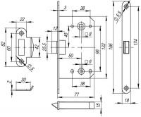 Защелка врезная Fuaro PLASTIC P96WC-50 GP латунь