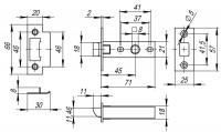 Защелка врезная Fuaro PLASTIC P12-45-25 AB бронза