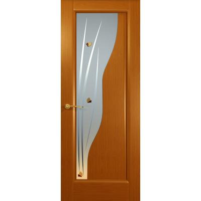Дверь Фрегат, Тёмный анегри, стекло белое