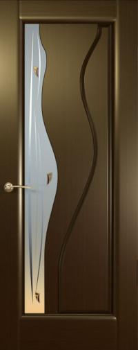 Дверь Гольфстрим, Венге, стекло белое