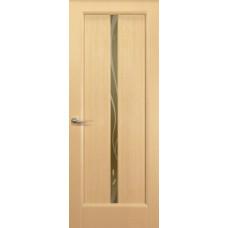 Дверь Новая волна, Беленый дуб, остекление L, стекло бронзовое