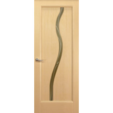 Дверь Новая волна, Беленый дуб, остекление Z, стекло бронзовое