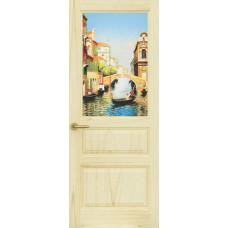 Дверь Марсель, Ясень слоновая кость, остекленная с рисунком