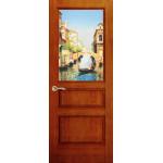 Дверь Марсель, Красное дерево, остекленная с рисунком