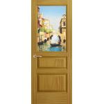 Дверь Марсель, Ясень шервуд, остекленная с рисунком