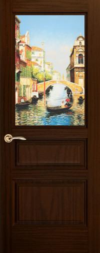Дверь Марсель, Ясень винтаж, остекленная с рисунком