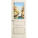 Дверь Марсель, Ясень белый жемчуг, остекленная с рисунком