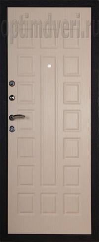 Дверь входная, Prima 2 черный Crocodile, беленый дуб